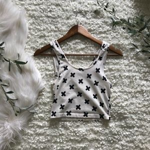 Forever 21 Black and Cream X-Print Crop Tank
